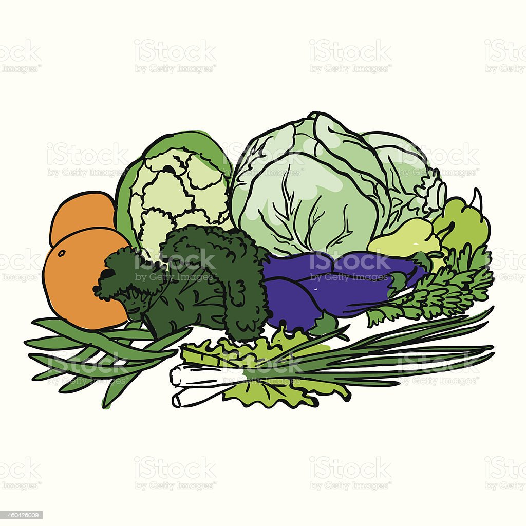 Composition with vegetables and fruits isolated on white royalty-free stock vector art