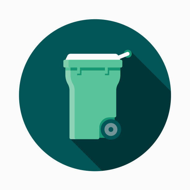 compost bin flat design gardening icon with side shadow - composting stock illustrations