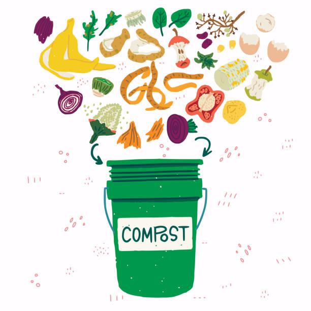 bildbanksillustrationer, clip art samt tecknat material och ikoner med kompostbehållare med matrester illustration - food waste