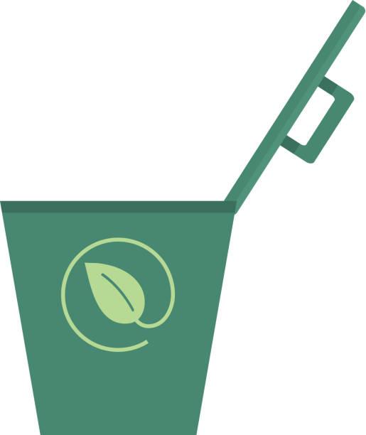 illustrazioni stock, clip art, cartoni animati e icone di tendenza di compost bin with open lid icon on white background - composting