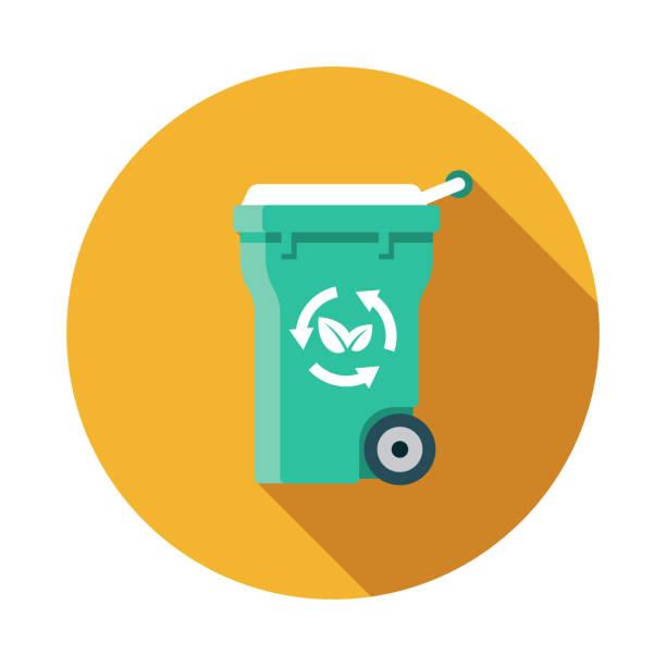 illustrazioni stock, clip art, cartoni animati e icone di tendenza di compost bin zero waste icon - composting