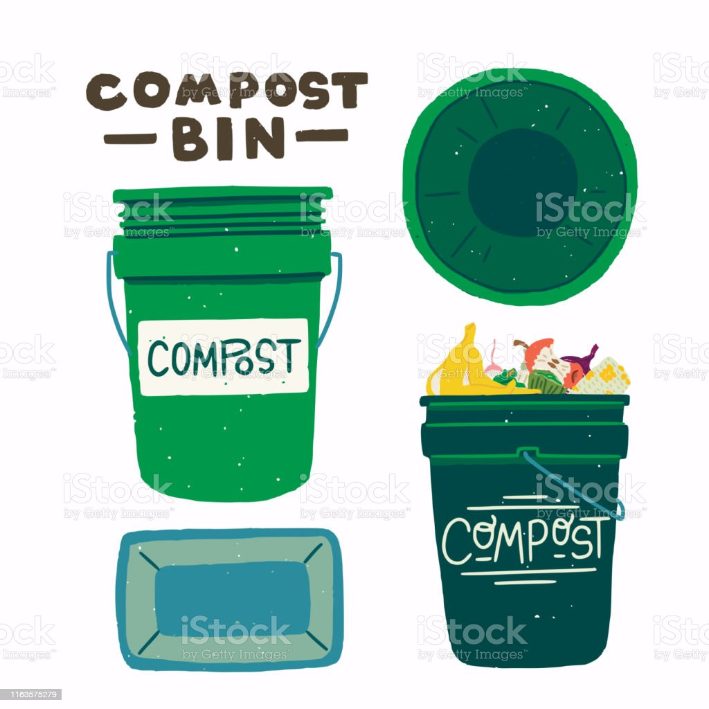 Compost Bins With Food Scraps Clipart Stock Illustration