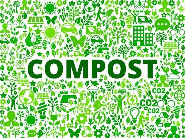 illustrazioni stock, clip art, cartoni animati e icone di tendenza di compost environmental conservation vector icon pattern - composting