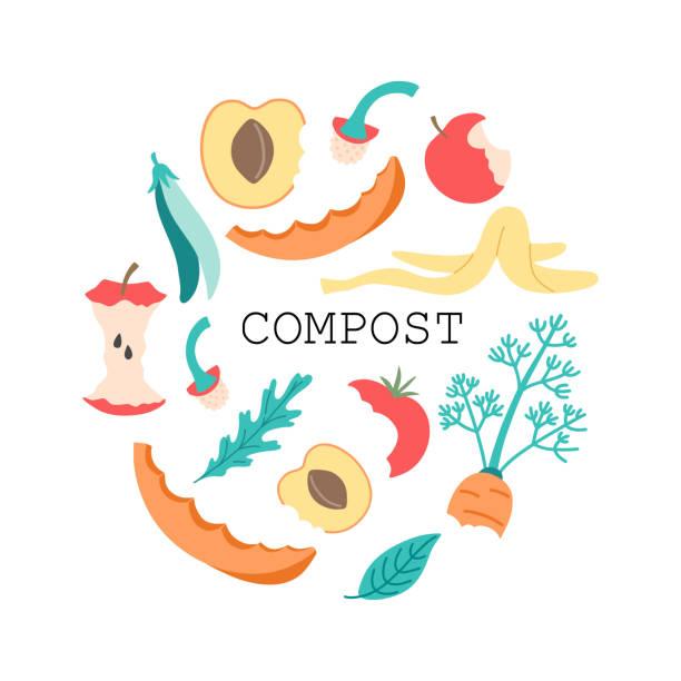 ilustraciones, imágenes clip art, dibujos animados e iconos de stock de círculo de alimentos de compost - leftovers