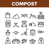 Compost Ground Soil Collection Icons Set Vector. Agricultural Organic Compost In Bag And Cart, Growing Plant In Pot And Worm Concept Linear Pictograms. Monochrome Contour Illustrations