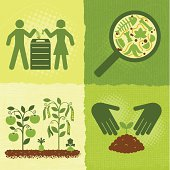 Compost icons on textured backgrounds