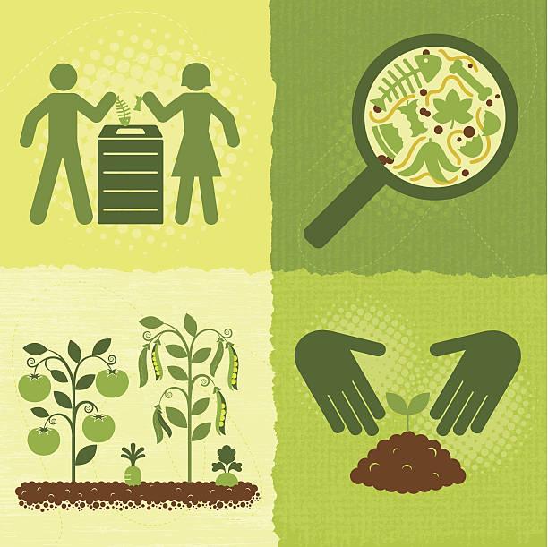 illustrazioni stock, clip art, cartoni animati e icone di tendenza di composta di icone verdi serie (mondo - composting