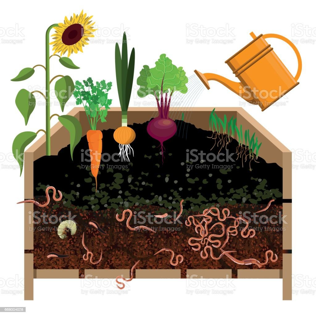 Compost pile vector art illustration