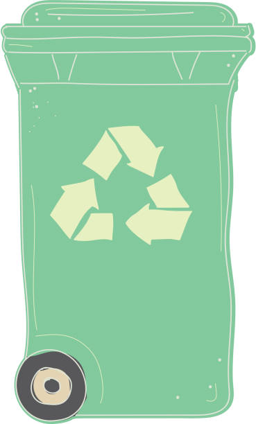 compost recycling bin with closed lid icon on white background - composting stock illustrations