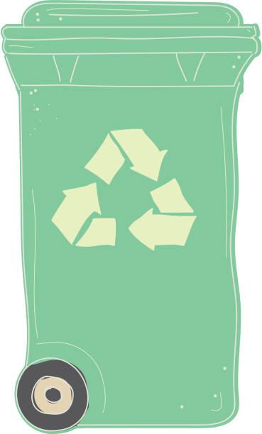 illustrazioni stock, clip art, cartoni animati e icone di tendenza di compost recycling bin with closed lid icon on white background - composting