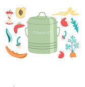 Compost bin with vegetables and fruit core on white background. Organic waste concept. Eco garbage, save the planet. Vector illustration, isolated on white background.