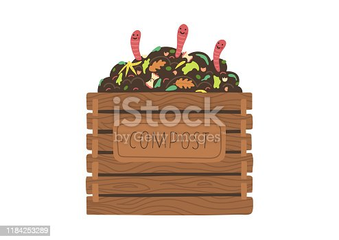 istock Compost with worms. 1184253289