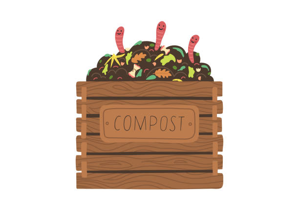 Compost with worms. Compost box with with funny worms.  Recycling concept. Flat vector illustration. annelid stock illustrations