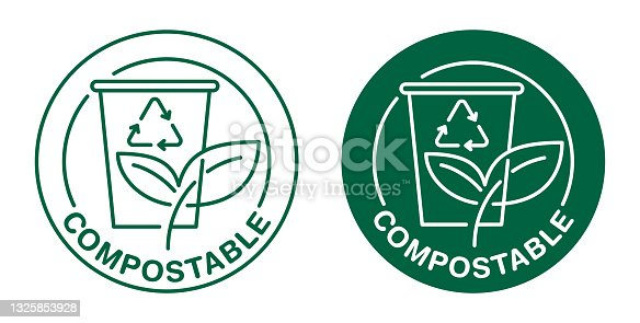 istock Compostable coffee cup badge for used paper dishes 1325853928