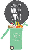 Vector illustration of a Compostable Kitchen Waste compost bin with spoiled food and food scraps. Includes hand drawn food kitchen waste scraps with a hand drawn compost bin. Easy to edit vector eps 10.