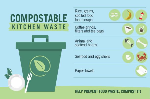 illustrazioni stock, clip art, cartoni animati e icone di tendenza di compostable kitchen waste upcycling infographic with icons - composting