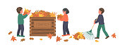 Composting. Autumn clean up. Children making compost from fallen autumn leaves on white background. Recycling concept.