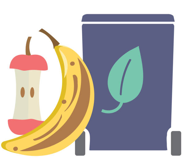 composting leftover food products icon or symbol - composting stock illustrations