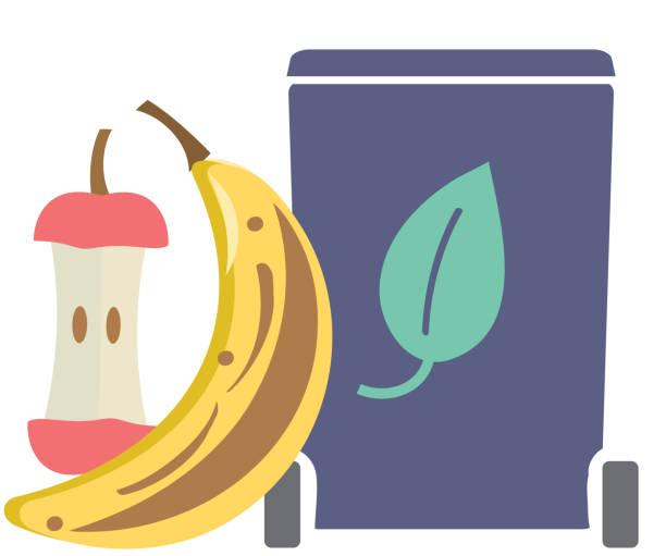 illustrazioni stock, clip art, cartoni animati e icone di tendenza di composting leftover food products icon or symbol - composting