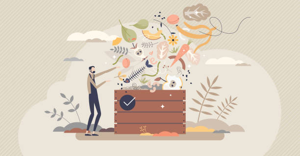 Composting organic food leftovers to fertilize new soil tiny person concept vector art illustration