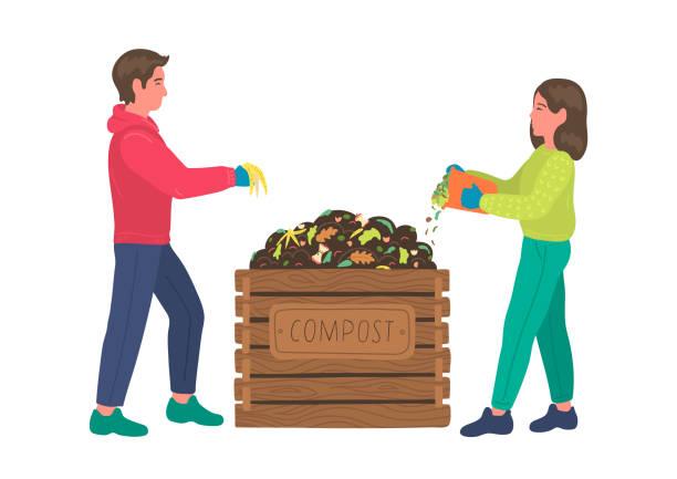 ilustraciones, imágenes clip art, dibujos animados e iconos de stock de compostaje. - leftovers