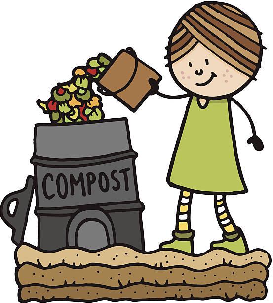 illustrazioni stock, clip art, cartoni animati e icone di tendenza di il compostaggio - composting