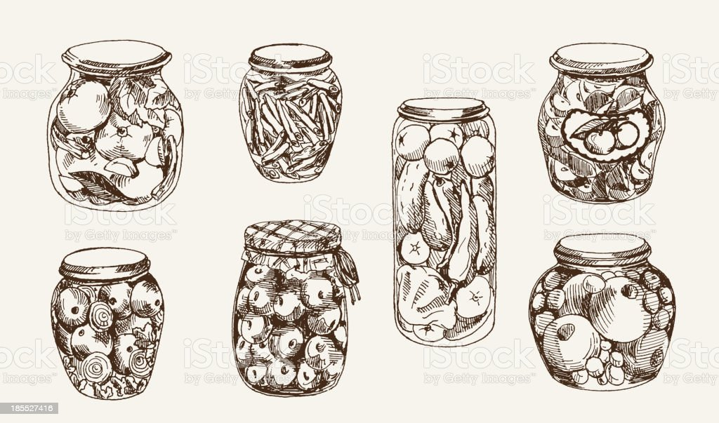 compote and pickles vector art illustration