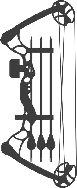 compound bow and arrow vector art illustration