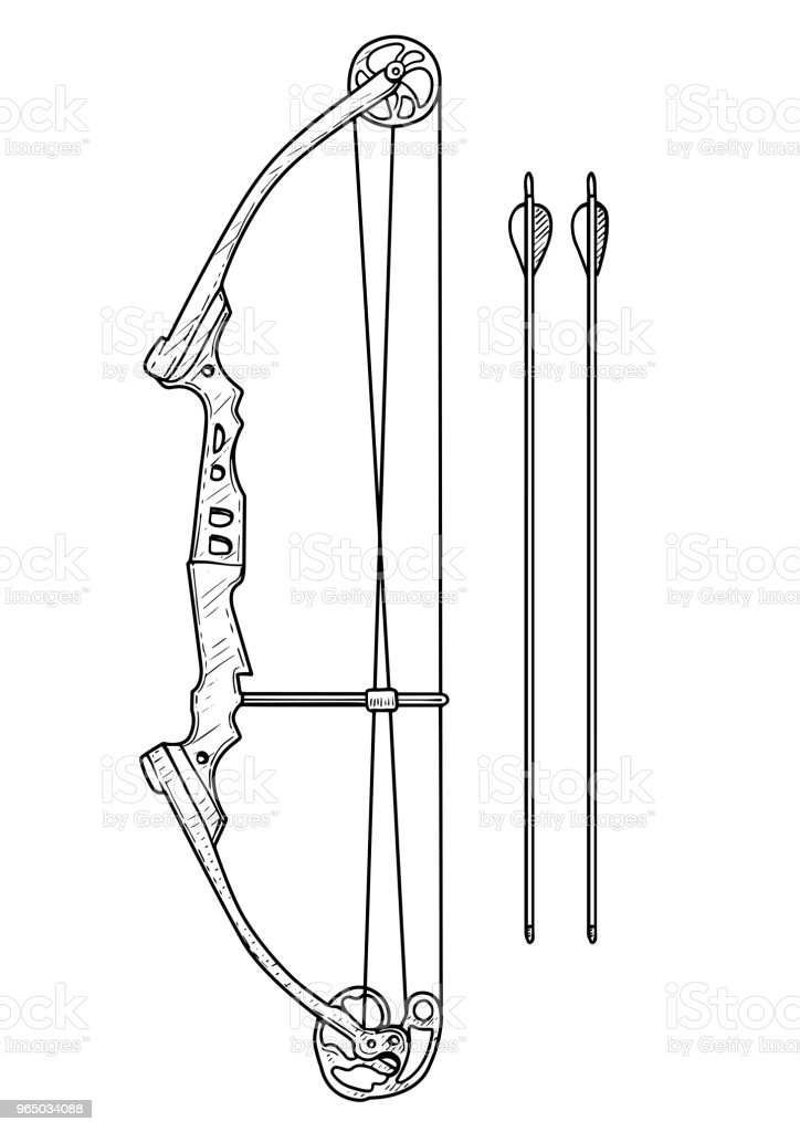 Compound bow illustration, drawing, engraving, ink, line art, vector royalty-free compound bow illustration drawing engraving ink line art vector stock vector art & more images of accuracy