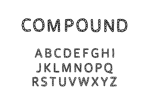 Compound vector hand drawn type font in cartoon comic style