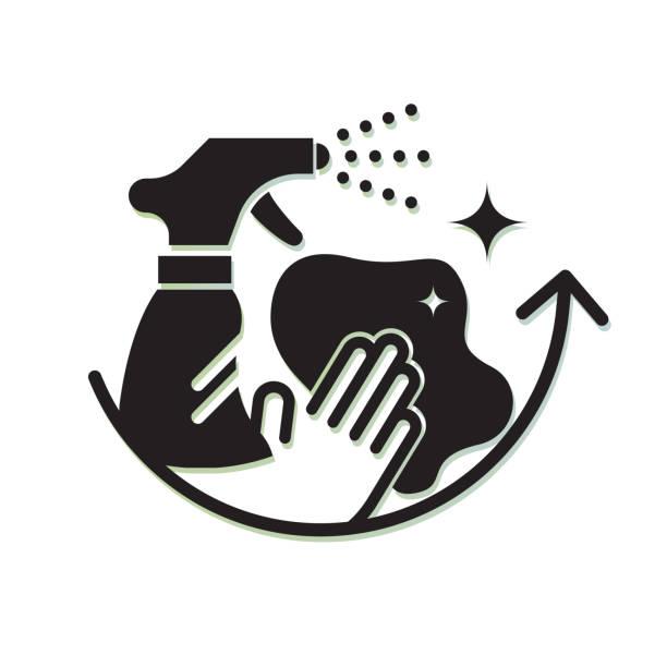ilustrações de stock, clip art, desenhos animados e ícones de comprehensive surface cleaning - protective measures - icon - na superfície