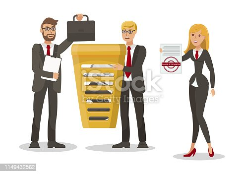 Compulsory Company Closure Vector Illustration. Angry Entrepreneurs and Cheerful Woman Cartoon Characters. Inspector Holding Court Order, Official Resolution. Firm Liquidation Order, Bankruptcy