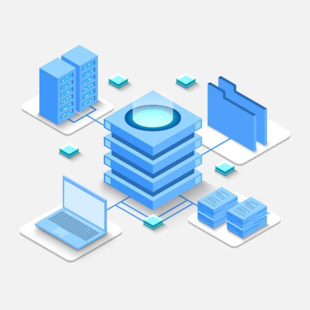Computación de Big Data Center, procesamiento de información, base de datos. enrutamiento de tráfico de Internet, tecnología de vector isométrico de rack de sala de servidores - ilustración de arte vectorial