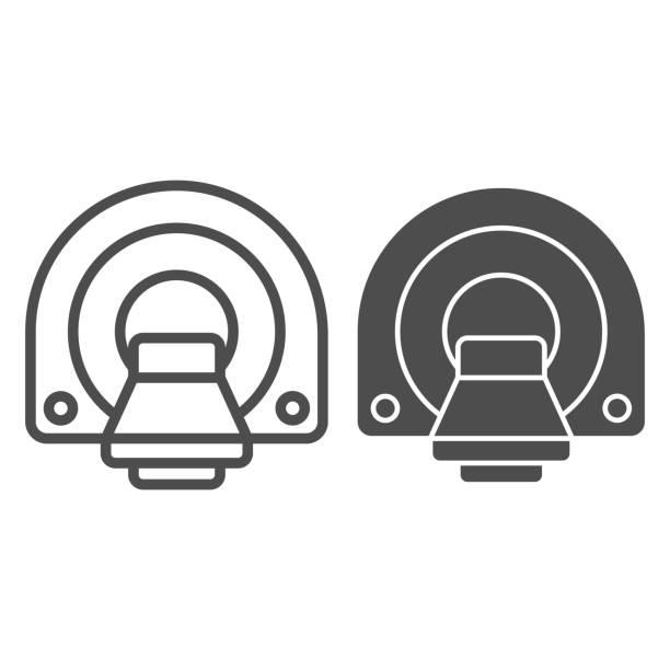ilustraciones, imágenes clip art, dibujos animados e iconos de stock de línea de tomografía computarizada e icono sólido, concepto de pruebas médicas, signo de diagnóstico por rmn sobre fondo blanco, máquina para el icono de la tomografía por resonancia magnética en estilo de esquema para móviles. gráficos vectoriale - oncología
