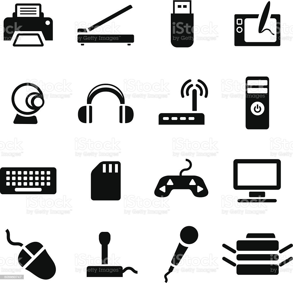 Computer accessories vector art illustration