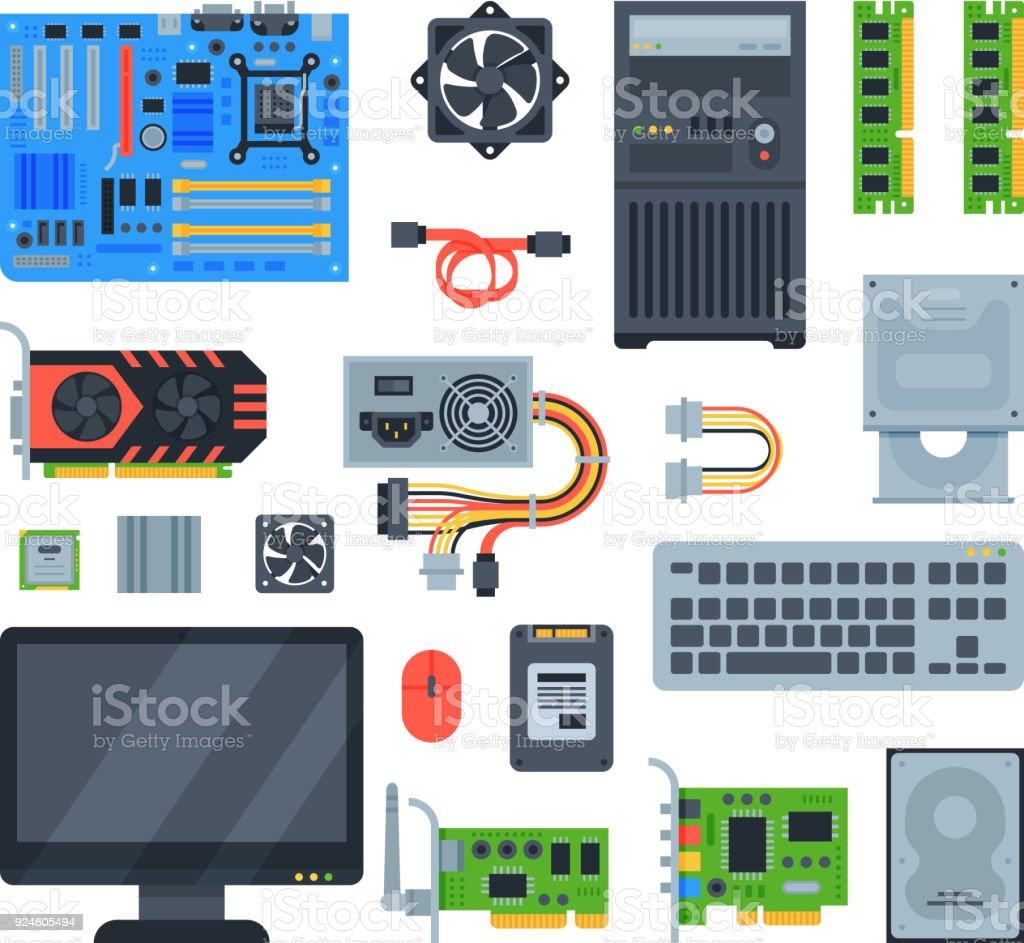 Ilustración de Accesorios De Ordenador Vector Pc Equipo Motherboard ...