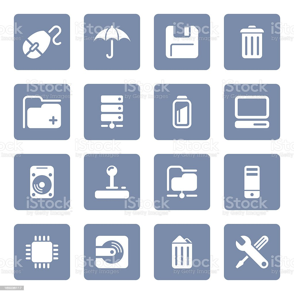 Computer & Data icons   blue series royalty-free stock vector art