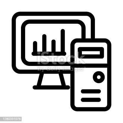 Computer analytics icon illustration. Modern infographics on PC monitor.