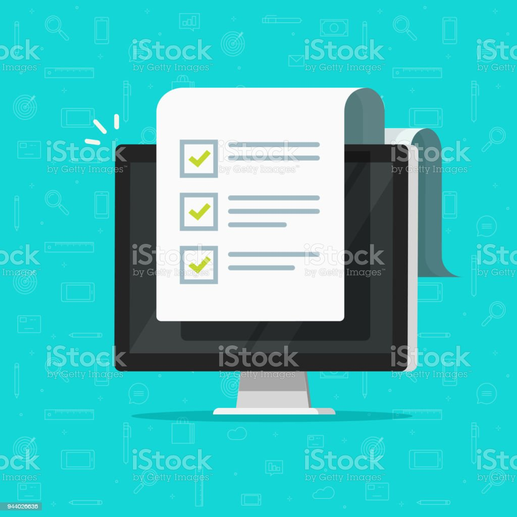 Computer and checklist vector illustration, flat cartoon pc monitor with long paper document and to do list with checkboxes, concept of survey, online quiz, completed things, done test, feedback vector art illustration
