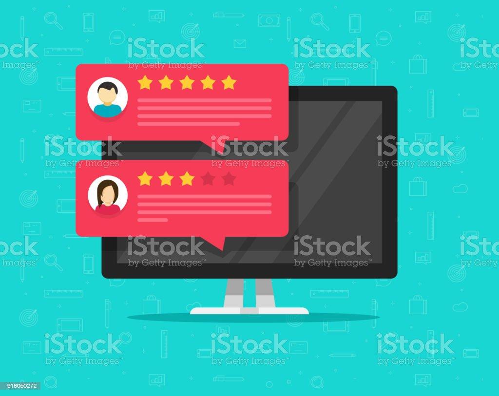 Computer und Überprüfung Rating Kundenmeldungen Vektor-Illustration, flachen Desktop-pc-Anzeige mit Online-Bewertungen oder Kundenempfehlungen, Konzept der Erfahrung oder Feedback, Sterne, Bewertung Umfrage Kommentare – Vektorgrafik