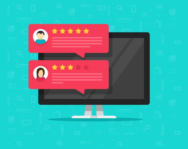 illustrations, cliparts, dessins animés et icônes de ordinateur et messages de note client examen vector illustration, écran de pc de bureau plat avec des commentaires en ligne ou de témoignages de clients, le concept d'expérience ou de vos commentaires, notation des étoiles, arpentage commentaires - relation client
