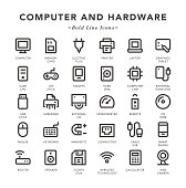 Computer and Hardware - Bold Line Icons - Vector EPS 10 File, Pixel Perfect 30 Icons.