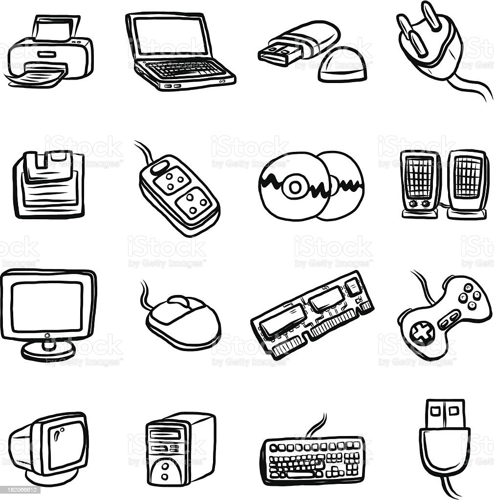 computer and hardware cartoon set royalty-free computer and hardware cartoon set stock vector art & more images of art