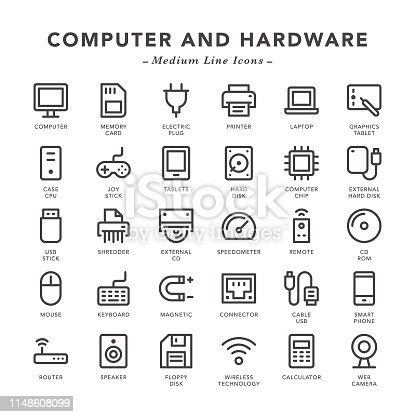 Computer and Hardware - Medium Line Icons - Vector EPS 10 File, Pixel Perfect 30 Icons.