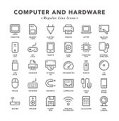 Computer and Hardware - Regular Line Icons - Vector EPS 10 File, Pixel Perfect 30 Icons.
