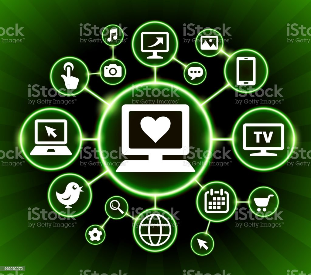 Computer and Heart Internet Communication Technology Dark Buttons Background royalty-free computer and heart internet communication technology dark buttons background stock vector art & more images of backgrounds