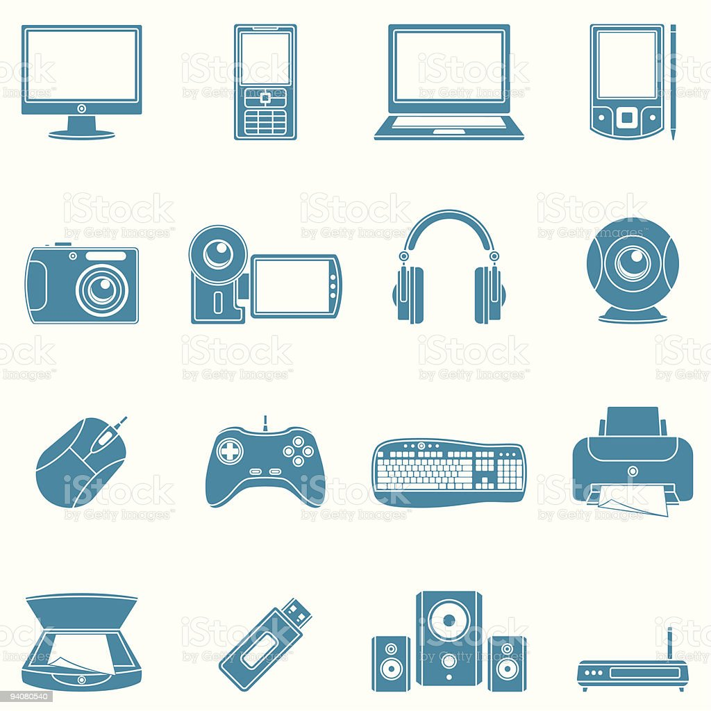Computer and media icons. royalty-free stock vector art