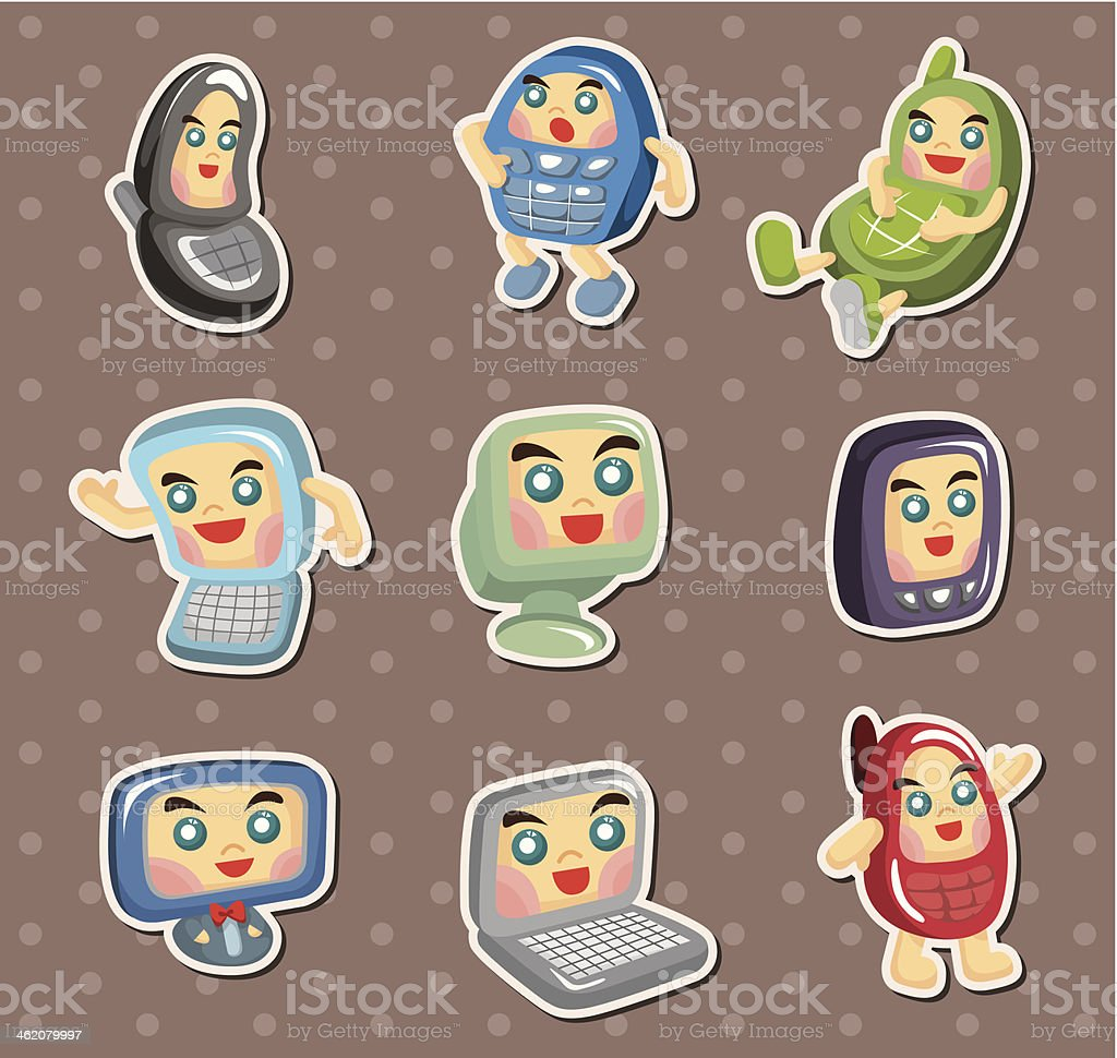 computer and mobile phone stickers royalty-free stock vector art