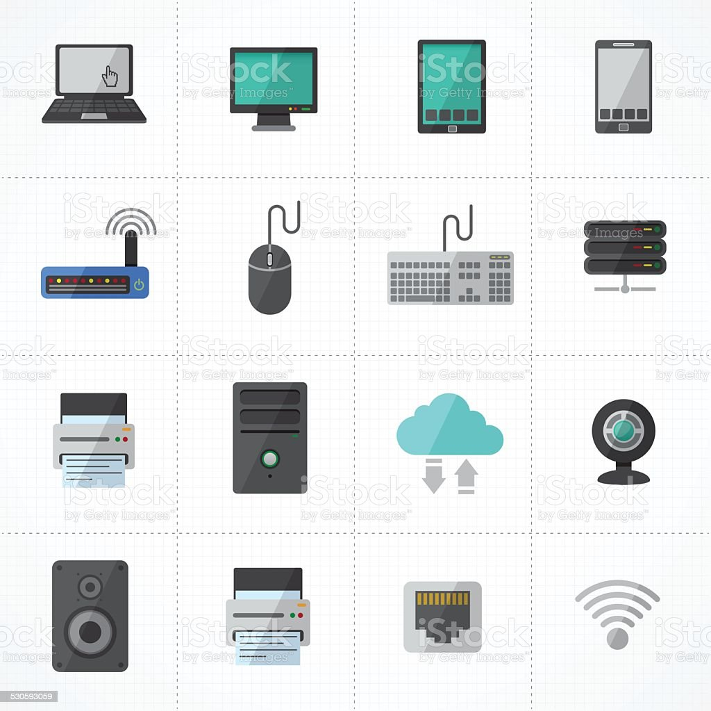 computer and network and mobile devices icons set. vector art illustration