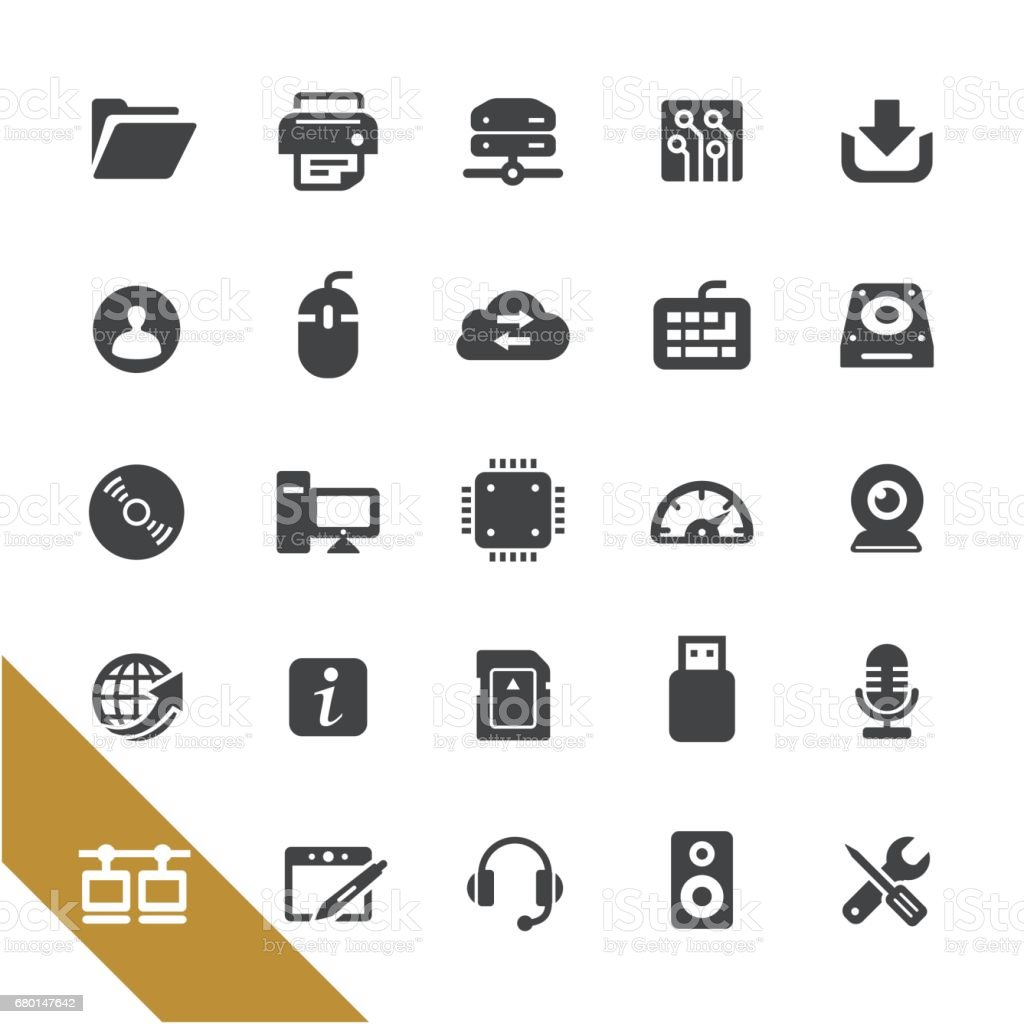 Computer and Network Icons - Select Series vector art illustration